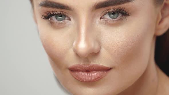 Closeup of Gorgeous Woman with Light Mua Posing
