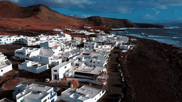 Flying Over El Golfo Village, Lanzarote, Canary Islands, Spain