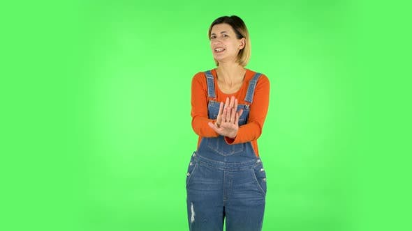 Thumbnail for Woman Strictly Gesturing with Hands Shape Meaning Denial Saying NO. Green Screen