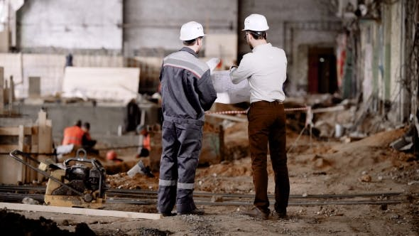 Thumbnail for Construction of an Industrial Facility. The Master Speaks with the Chief Engineer of the Project