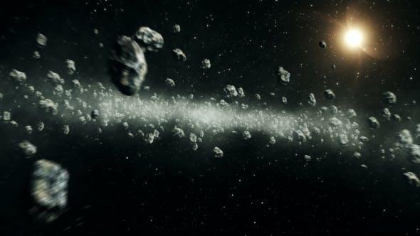 Beautiful Flight Through Asteroid Belt in Open Space