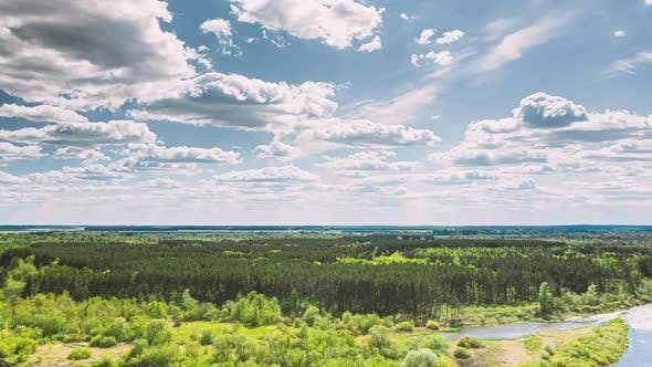 Aerial View Forest Woods And River Marsh In Early Summer Landscape