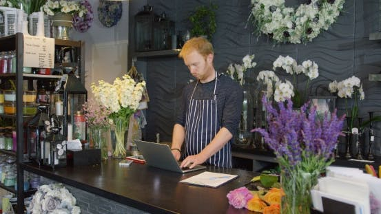 Male Worker in Floral Store