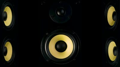 Studio Speakers Four Speakers on a Black Background