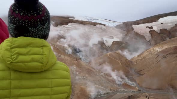 Tourists in Kerlingarfjoll Geotermal Area