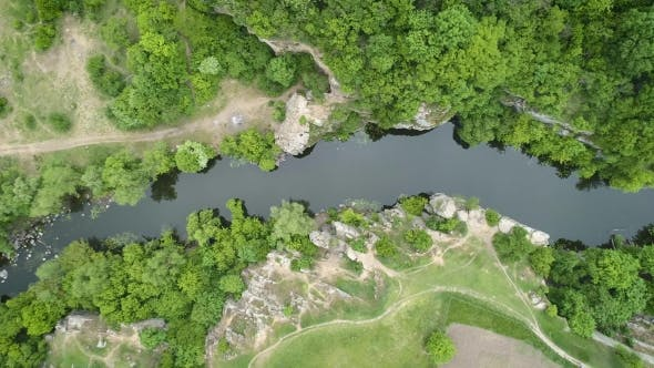 Thumbnail for Aerial Footage. Fly Over River Conyon. Top View