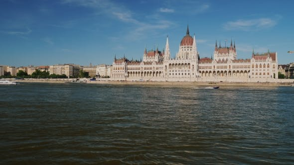 Thumbnail for Beautiful Building of the Hungarian Parliament in Budapest, in the Foreground River Danube