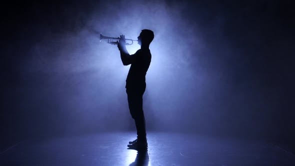 Thumbnail for Professional Musician in Smoky Studio Playing on Wind Instrument, Silhouette