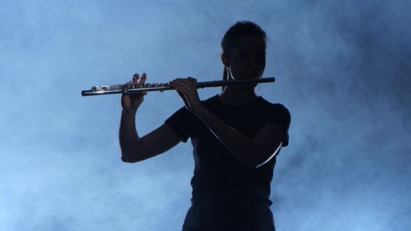 Thumbnail for Professional Musician Female Playing on Flute. Smoky Isolated Studio, Silhouette