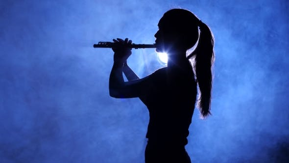 Thumbnail for Woman in Spotlight in Smoky Studio Plays on Flute, Silhouette