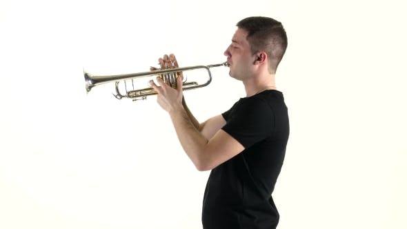 Thumbnail for Young Musician Playing on Pipe Standing Sideways on White Background