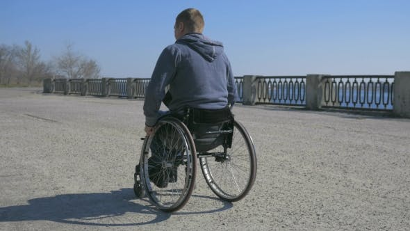 Thumbnail for Tired Man Disability, Wheelchair Wheels, Difficulty Traveling Wheel Chair on Street, Disabled Man in