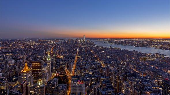 Thumbnail for New York City, NY, USA - The South of Manhattan from Day to Night