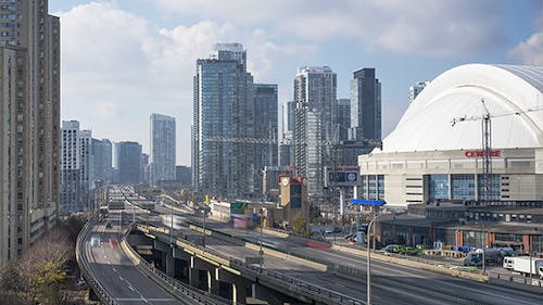 The Gardiner Expressway and the Rogers Center