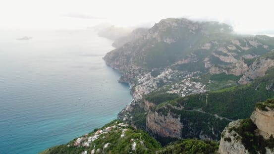 Flight in Mountains Above Amalfi Coast in Italy