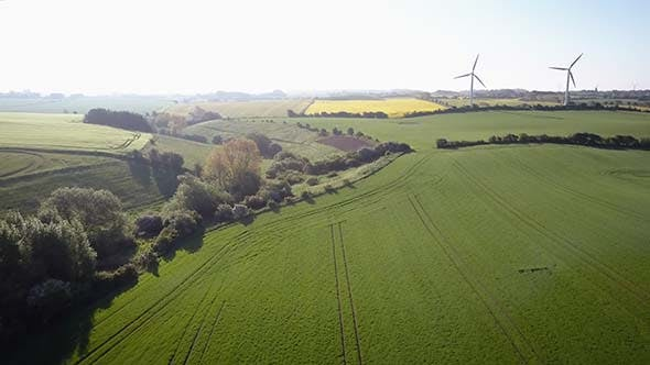 Thumbnail for Aerial View Of Summer Countryside With Wind Turbines