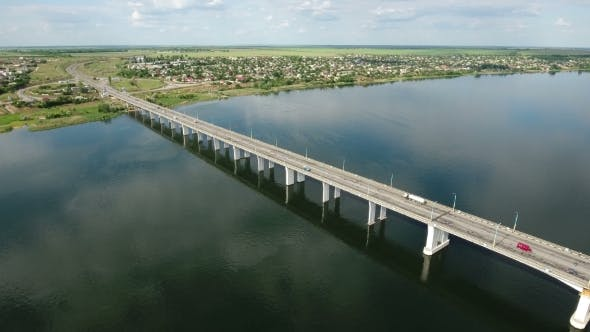 Cover Image for Aerial Shot of a Modern Car Bridge in Kherson in a Sunny Day in Summer
