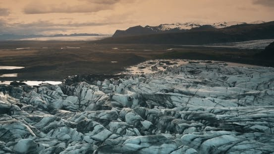 Thumbnail for Aerial View of the Ice Lagoon on Sunset