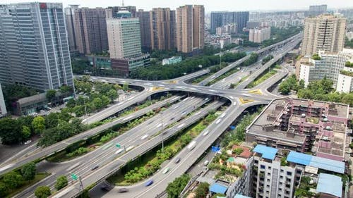 Chengdu Highways in Southwestern China Sichuan Timelapse