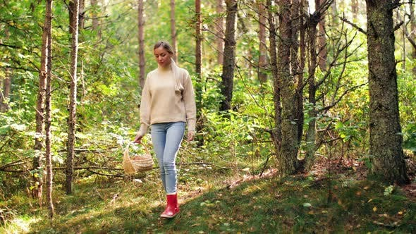 Thumbnail for Young Woman Picking Mushrooms in Autumn Forest 4