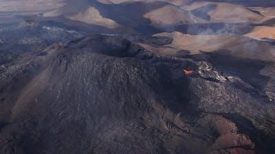 Drone Flight Over Fagradalsfjall Volcano