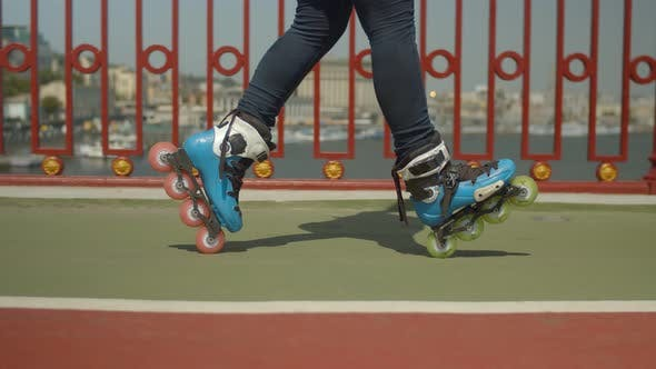 Thumbnail for Skillful Rollergirl's Feet Doing Cross Position