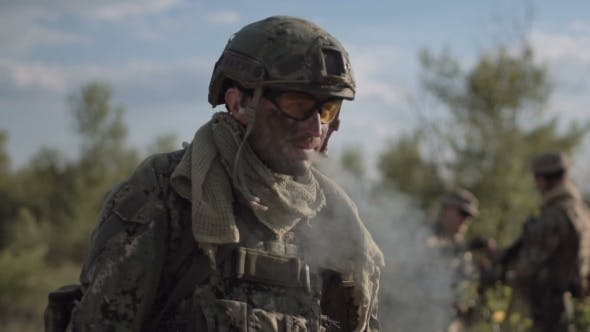 Thumbnail for Soldier Smoking Opposite Other Soldiers
