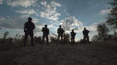 Military Troop in a Row