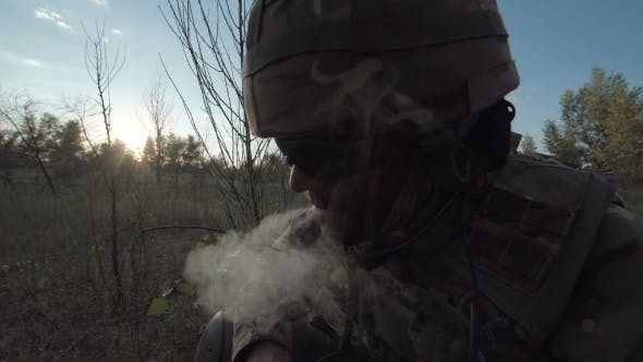 Thumbnail for Soldier Sitting and Smoking