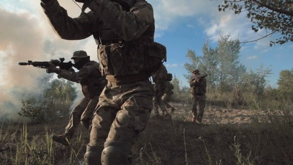Thumbnail for Military Forces Walking on Battlefield