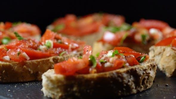 Classic Italian Bruschetta, Tomato, Garlic and Parsley on Toasted Bread