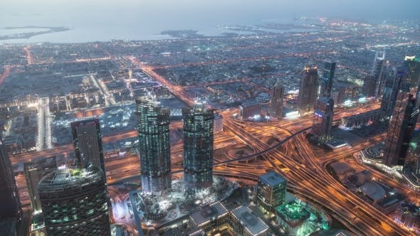 Thumbnail for Dubai Downtown Night  with Burj Khalifa and Other Towers