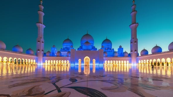 Thumbnail for Sunset in Sheikh Zayed Mosque in Abu Dhabi, United Arab Emirates