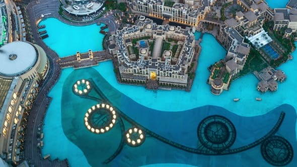 Cover Image for Aerial  The Dubai Fountain Water-light Show Near Burj Khalifa in the Evening