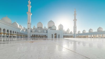 Panoramic  of Main Beautiful Sheikh Zayed Mosque in Abu Dhabi
