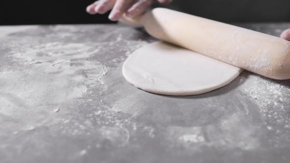 Thumbnail for The Cook Rolls Out the Dough, Chef Is Baking, Bakery Products, Making the Dough