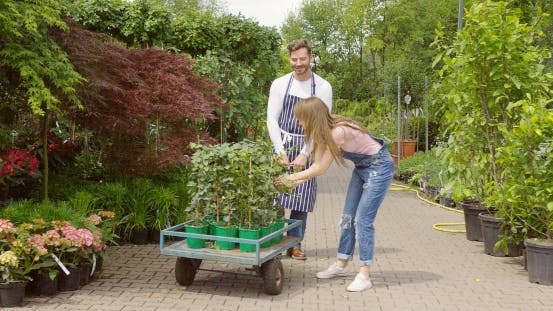 Thumbnail for Man and Woman with Wagon in Garden