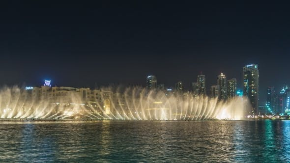 Thumbnail for Dubai Dancing Fountain at Night City Background