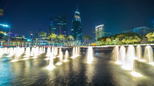 Night Fountain in the Business District of Dubai, UAE
