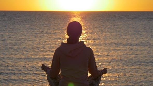 Thumbnail for Inspiration. Yoga on Sunrise on the Beach