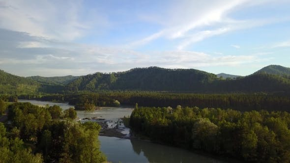 Thumbnail for Aerial Panorama of the Green Forest and River Near Mountains