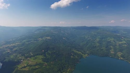 Aerial View on Drina River in Serbia