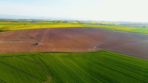 Aerial View Agricultural Farming Land Growing Vegetable Crops