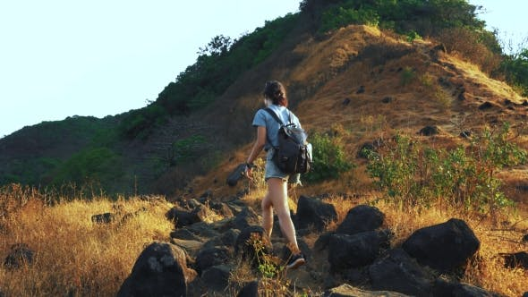 Thumbnail for Hiker with Backpack Walking in Mountain