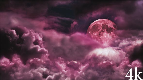 Thumbnail for Blood Moon in the Night Cloudy Sky