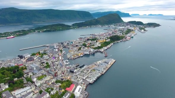 Cover Image for City of Alesund Norway Aerial Footage
