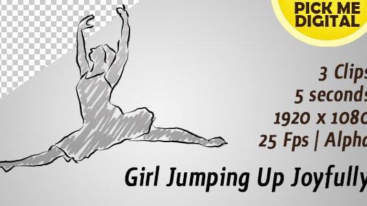 Girl Jumping Up Joyfully