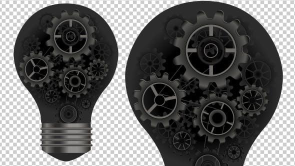 Animated Light Bulb and Gears