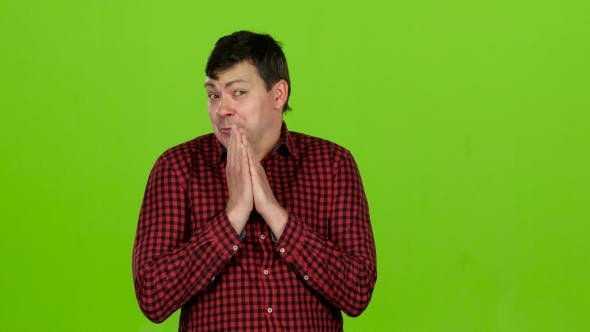 Thumbnail for Man Is Surprised at What He Saw, He Is in Shock, Smiling. Green Screen