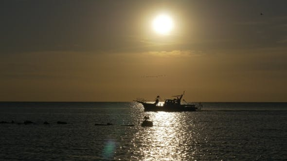 Thumbnail for Passenger Boat in Sea at Sunset